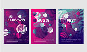 Dance music festival posters with abstract geometric smooth line. Invitation templates for night club party with dynamic shapes.