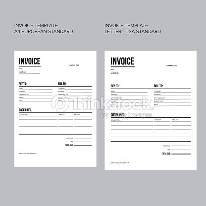 Invoice Business Template European And Usa Standard Paper Vector Art ...