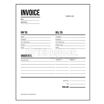 Invoice Business Template Letter Usa Standard Paper Vector Art - Where to order invoices for a business