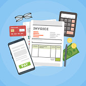 Invoice concept illustration. Invoice documents with calculator, mpney and cards.