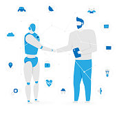 IoT concept with people and robot, internet of things vector design