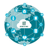 IoT ( internet of things ) image illustration (earth) / blue color.