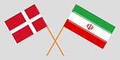 Iran and Denmark. The Iranian and Danish flags. Official colors. Correct proportion. Vector illustration