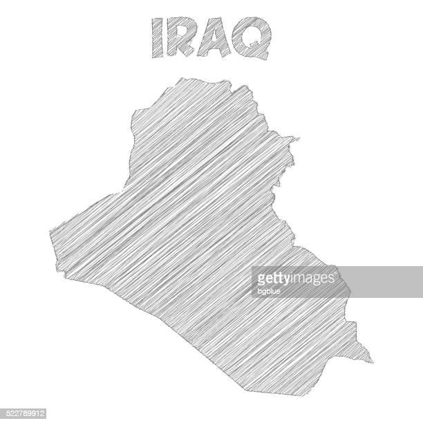 Iraq map hand drawn on white background