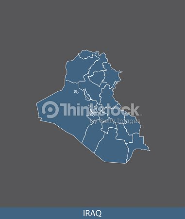 Iraq Map Outline Vector In Gray Background Vector Art Thinkstock - Iraq map outline