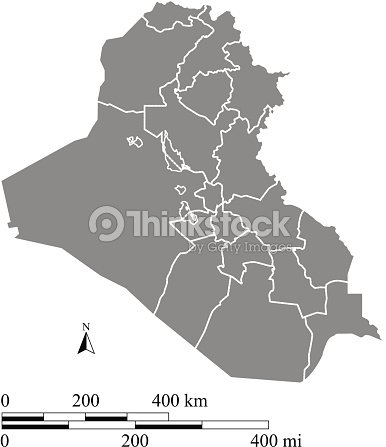 Iraq Map Outline Vector With Scales Of Miles And Kilometers Vector - Iraq map outline