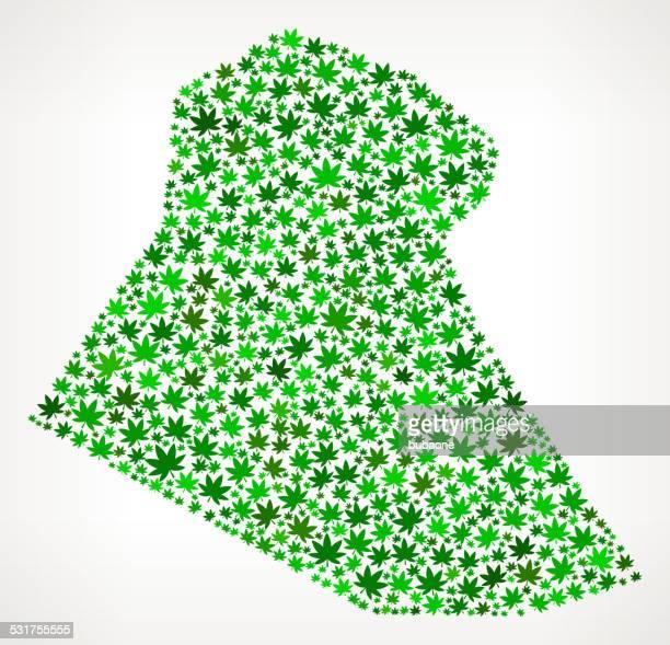 Iraq Map royalty free vector Marijuana Leaves Weed graphic