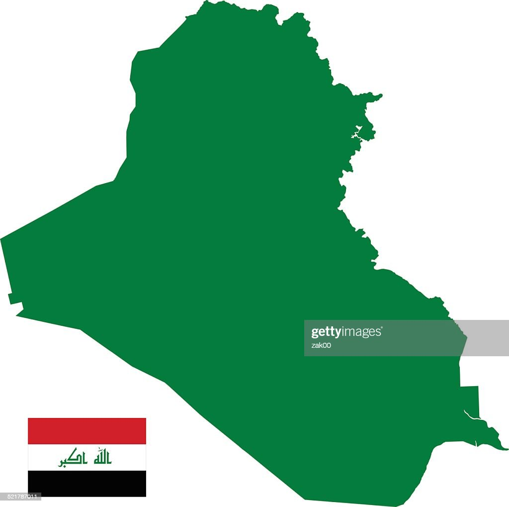 Iraq Map Silhouette With Flag Vector Art Thinkstock