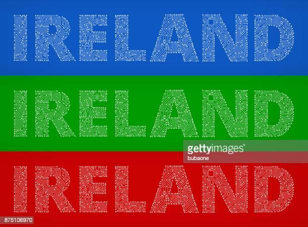 Ireland Circuit Board Color Vector Backgrounds