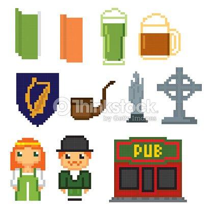 Ireland Culture Symbols Icons Set Pixel Art Old School Computer