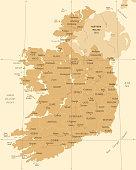 Ireland Map - Vintage High Detailed Vector Illustration
