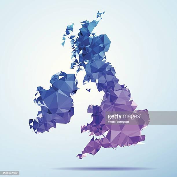 UK Ireland Polygon Triangle Map Blue