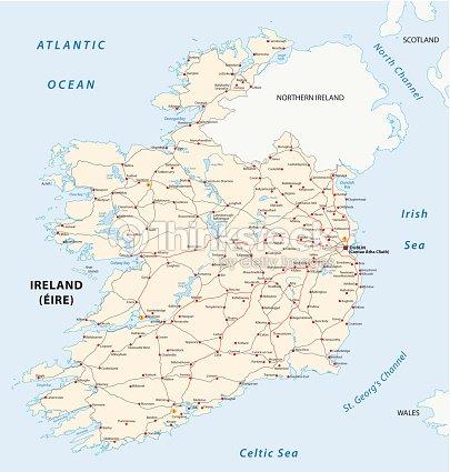 Ireland road map vector art thinkstock ireland road map vector art gumiabroncs Image collections