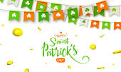 Colorful festive bunting with clover. Vector illustration for greeting card, poster, celebration banner