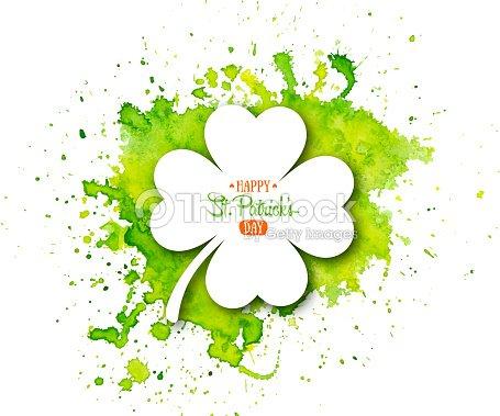 Día De Fiesta Irlandesa San Patricio Trébol Blanco Quatrefoil Sobre ...