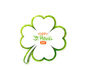 Vector illustration with four-leaf clover for greeting card, poster, celebration banner