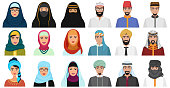 Islam cartoon people icons. Arabic muslim avatars muslim face heads of male and female