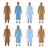 Arabic men wear jubba, thobe, headscarf, turban, keffiyeh. Vector cartoon characters isolated on white.