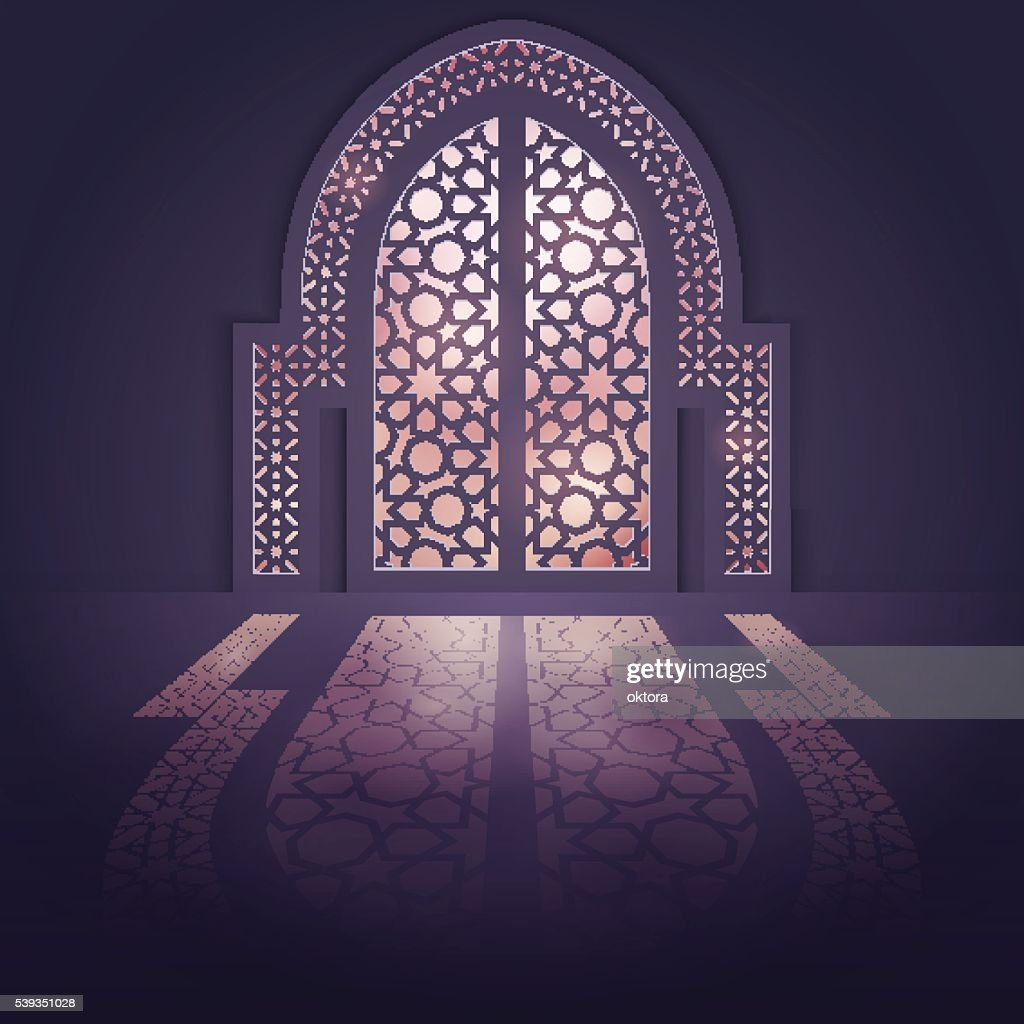 Islamic design background mosque door background with light arabic pattern  Vector Art & Islamic Design Background Mosque Door Background With Light Arabic ...
