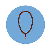 Islamic Flat Icon, Beads icon isolated on white background, for Religion Flat Icons Symbols concept-Vector Flat Design