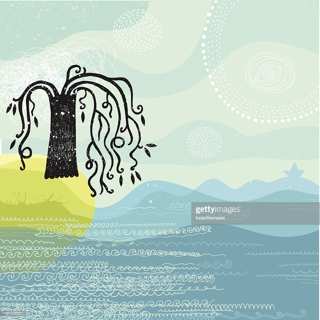 Island with lonely tree by the sea : Vector Art