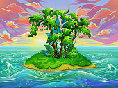 Island with palm trees in the ocean during sunset. Vector background for design.