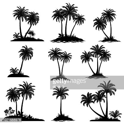 Islands with Palm Trees Silhouette : arte vetorial