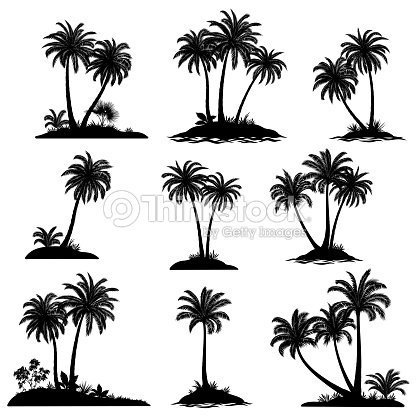 Islands with Palm Trees Silhouette : stock vector