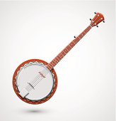Isolated banjo, musical instrument. Illustration contains transparency and blending effects, eps 10