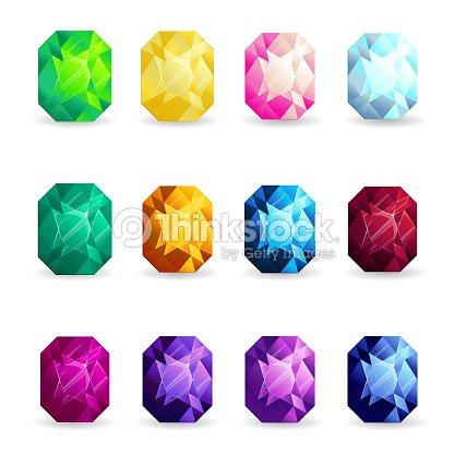 34a9f8cffdf1 Conjunto De Piedras Preciosas Coloridas Aisladas De Forma De Cojín ...