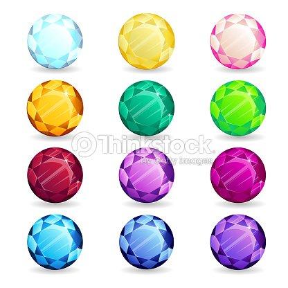 3d125b98fd74 Piedras Preciosas Coloridas Aisladas De Ronda Forma Conjunto ...
