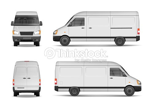 isolated commercial delivery vehicle set white van vector template