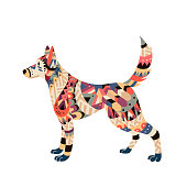 Isolated dog in tribal style. The dog is a symbol of 2018. Vector illustration, can be used to print on a t-shirt.