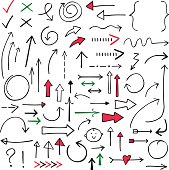 Isolated doodle vector arrows set (red, black and green), hand drawn