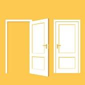 Isolated objects. Open door. Close door. Realistic vector illustration. Wooden door