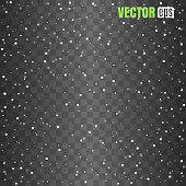 Isolated Falling Snow Overlay on transparent background. Vector illustration. EPS 10