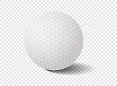 Realistic Isolated golf ball on transparency grid - Vector Illustration
