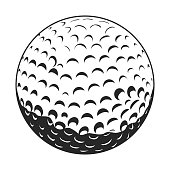 Isolated golf ball on a white background, Vector illustration