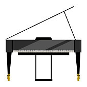Isolated grand piano image. Musical instrument. Vector illustration design