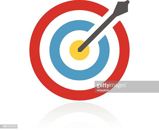 Isolated icon of a target with an arrow in the center