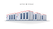 Vector illustration of large rechargeable lithium-ion battery energy storage stationary for renewable electric power stations. Backup power energy storage cloud server system on white background.