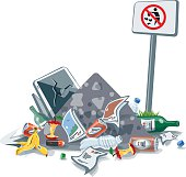 Vector illustration of littering waste pile that have been disposed improperly, without consent, at an inappropriate location near the No littering sign board. Trash is fallen on the ground and create