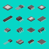 Isolated microchip semiconductor computer electronic components isometric icons set with circuit board elements. Microprocessors electrolytic capacitors and hardware microchips vector illustration