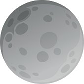 Isolated round grey moon made in flat style