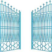 isolated open blue iron gate fence vector illustration