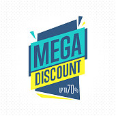 Sale badge, vector in flat design style. Mega discount badge.