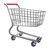 Shopping cart isolated on white background, Vector illustration