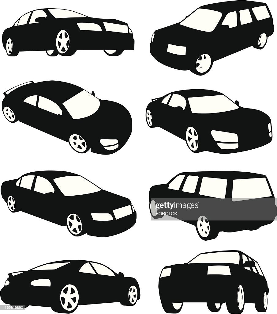 Isolated silhouettes of modern cars : Vector Art
