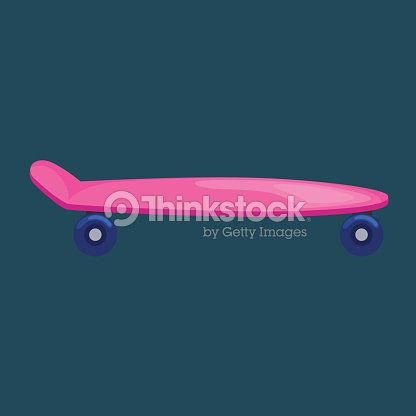 Isolated skateboard with wheel for active lifestyle, extreme sport youth activity, balance street transport vector illustratio