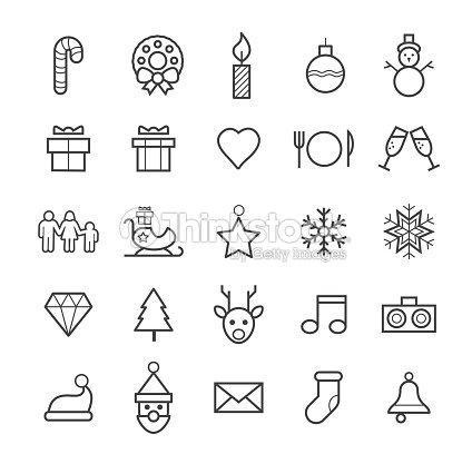 minimale weihnachtssymbole die isoliert auf wei em. Black Bedroom Furniture Sets. Home Design Ideas